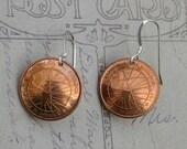 Ecuadorian 1 centavo coin earrings