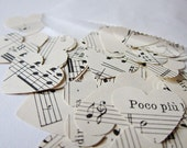 100 paper hearts made from vintage music sheets - German text, size small