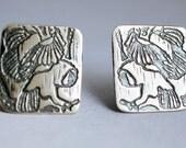 Flat silver owl earrings