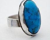 Sterling silver stone set ring - turquoise - natural - adjustable size - etched