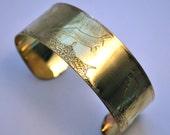 Hare Brass Cuff Bracelet Etched Brass