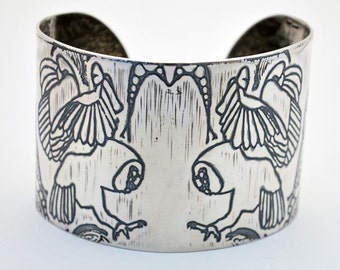 large sterling silver owl bangle