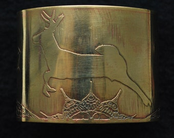 Large Brass Stag Cuff