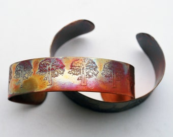 Etched Copper Cuff Bracelet - Tree design - slim size