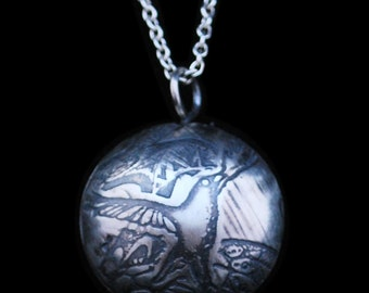 Large Sterling Silver Crow Capsule Pendant