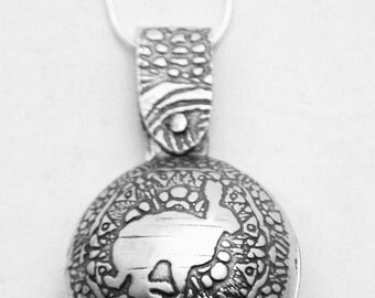 Sterling Silver hare locket - swivel design - running hare - etched locket