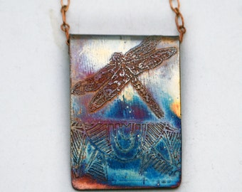 Etched copper pendant - dragonfly -  heat coloured copper pendant on brass chain