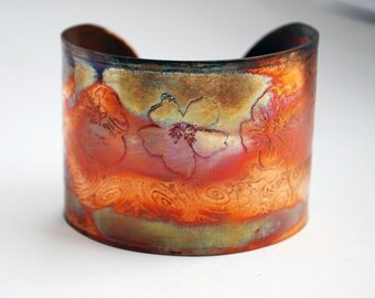 Etched Copper Cuff  Bracelet - flower design - large size - SALE 20% off - was 50 dollars