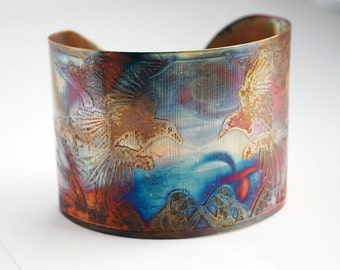 Etched Copper Cuff  Bracelet - flying magpie design - large size - SALE 20% off - was 50 dollars