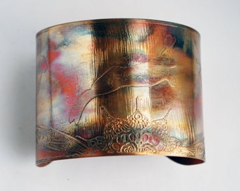 Etched Copper Cuff  Bracelet - hare design - large size