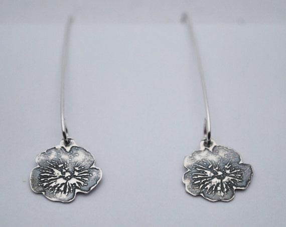 Flat Silver Flower earrings