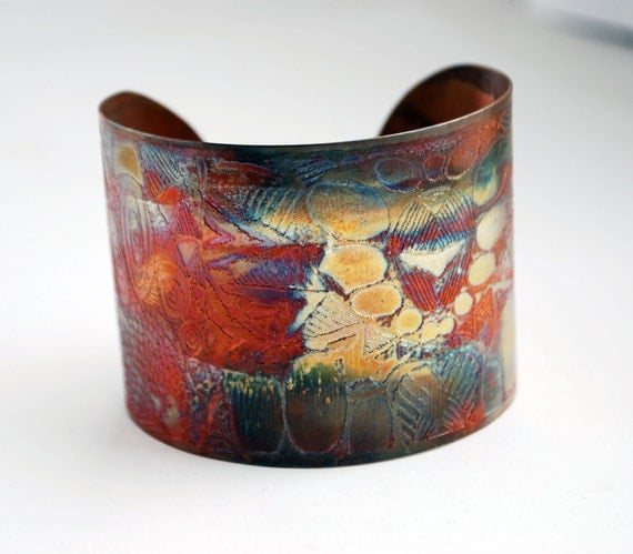 Etched Copper Cuff  Bracelet - pattern design - large size - SALE 20% off - was 50 dollars