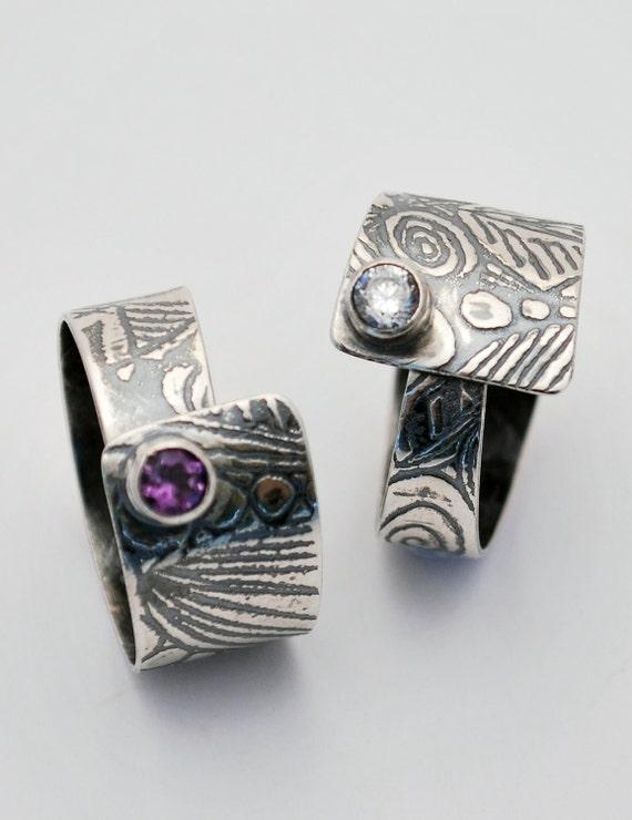 Etched silver Stone Set Ring - Adjustable size - oxidised or unoxidised - amethyst, topaz, zircon, garnet, peridot, citrine