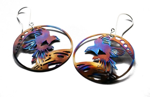 Titanium Magpie Earrings - Hand Cut, Hand Pierced Earrings