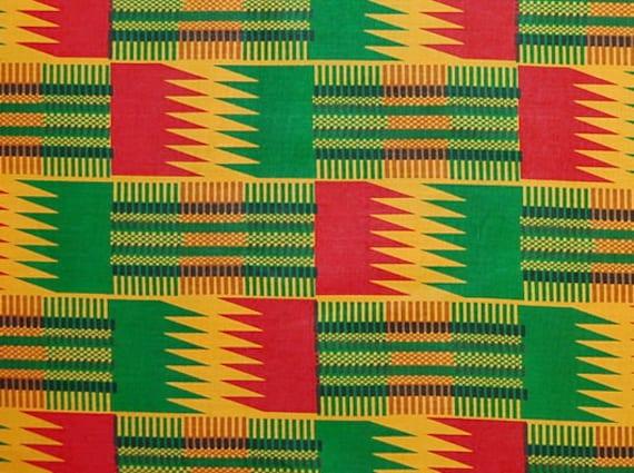 African Fabric 1/2 Yard Cotton GOLD GREEN RED Kente Print Zig Zags