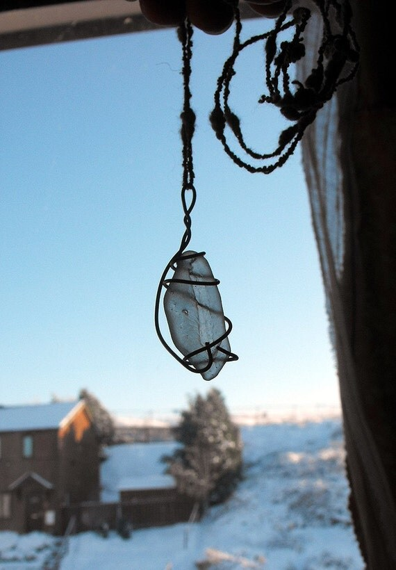 Teardrop Leaf Seaglass Gypsy Mermaid's Pendant