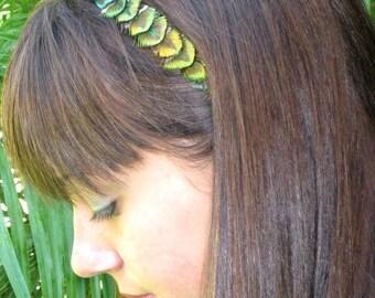 JACKIE- IRRADESCENT GREEN peacock feather headband