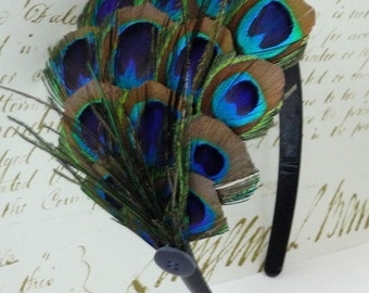 LUCY- Peacock Feather Headband with Vintage Button
