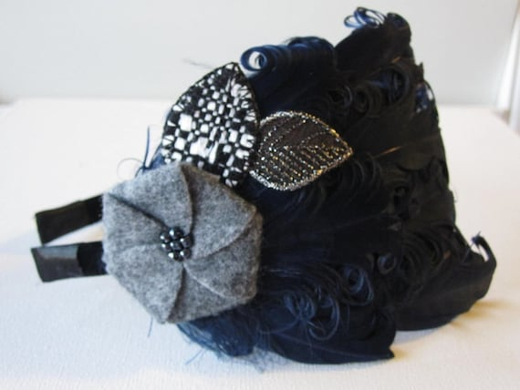 BLOSSOM- black feather and grey felt headband/clip