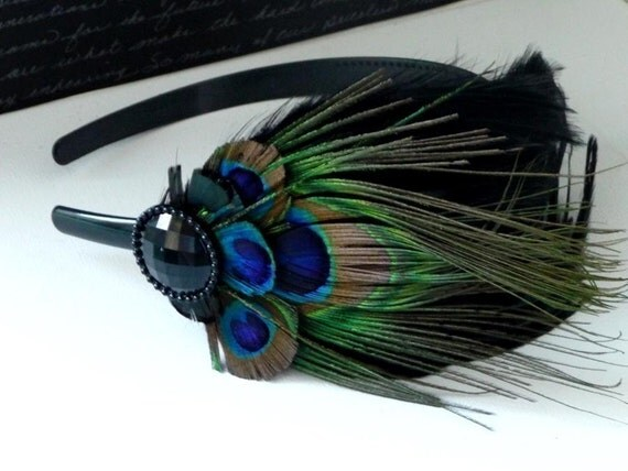 ASHLEY - Peacock Feather Headband or Clip- free domestic shipping