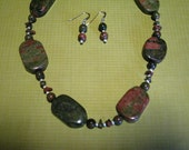 Reserved for RJ-Unakite Necklace and Earrings Set