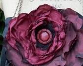 Vintage Black Evening Bag Embelished with Hand Ruffled Burgandy Rose