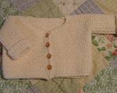 French Garter Stitch Baby Cardigan Knitting Pattern PDF