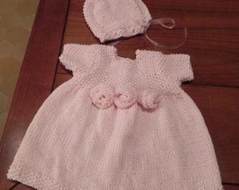 French Rosette Baby Dress Knitting Pattern PDF