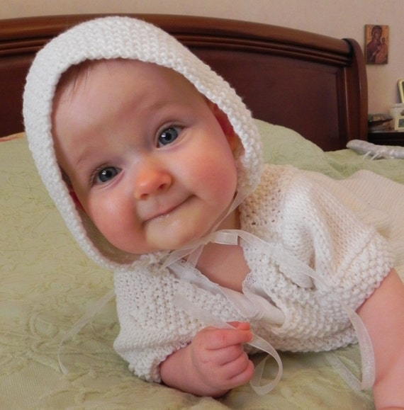 French Baby Knitting Patterns : Traditional French Baby Bonnet Knitting Pattern PDF
