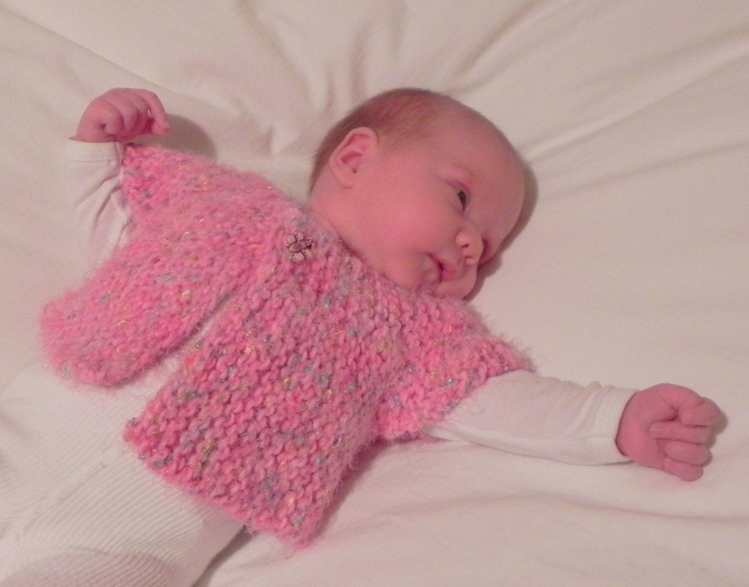 French Baby Knitting Patterns : French Angel Capelet Baby Sweater Knitting Pattern PDF Fast