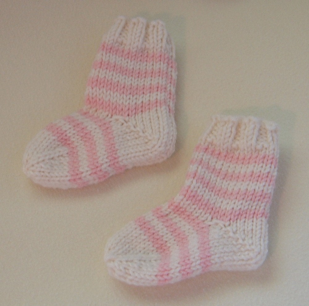 Free Knitting Patterns Babies : French Striped Baby Socks Knitting Pattern PDF