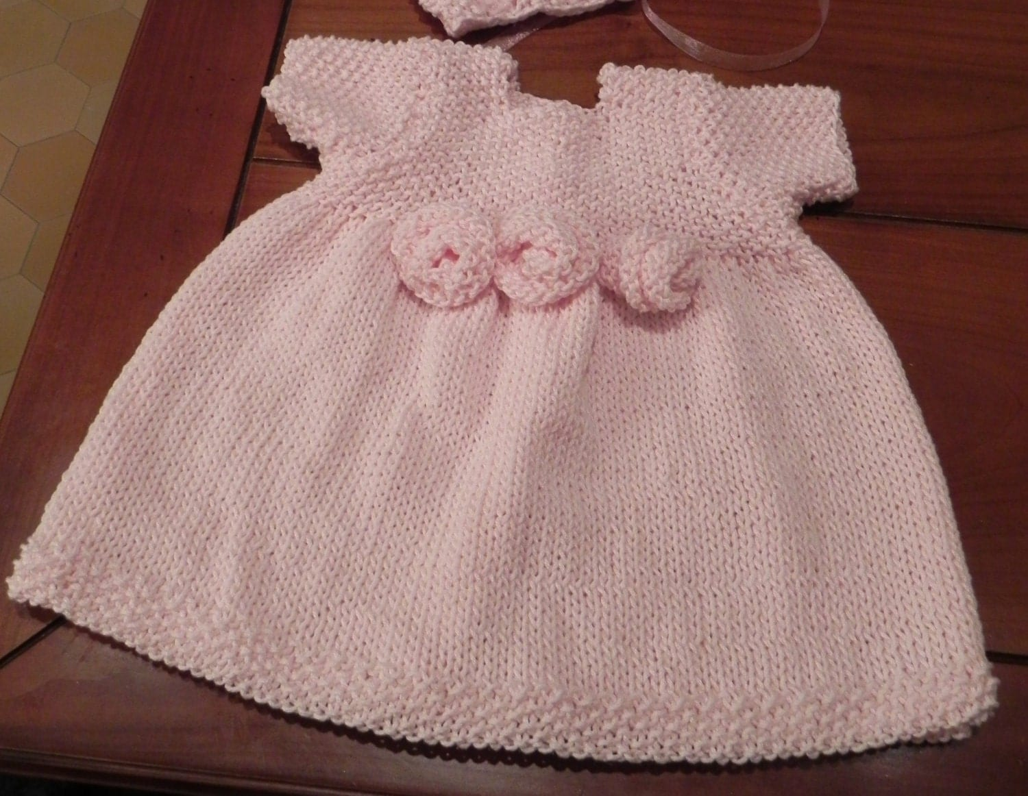 French Knitting Patterns : French Rosette Baby Dress Knitting Pattern PDF