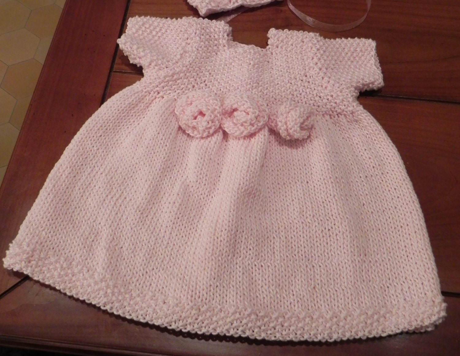 Knitting Patterns For Baby Dresses : French Rosette Baby Dress Knitting Pattern PDF by MadameSegneri