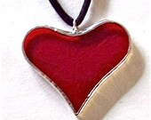 Red Stained Glass Heart Necklace or Choker, jewelry by colorolight on Etsy