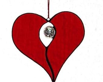 Stained Glass Opening Heart Suncatcher, handmade original design
