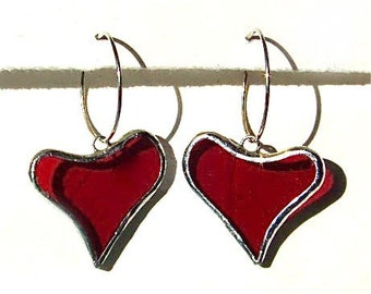 Heart Earrings on Sterling Silver Hoops, stained glass, handmade jewelry