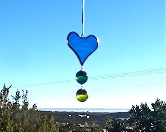 Stained Glass Heart Drop Suncatcher and Ornament, handmade