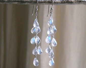 Dripping With Moonstones Earrings - Rainbow Moonstone Drop Earrings - Waterfall Earrings - Cascade Earrings  - Dangle Earrings