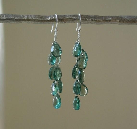 Cascading Austrian Green Quartz Earrings - Green Gemstone Jewelry - Waterfall - Long Dangle Earrings - Sterling Silver