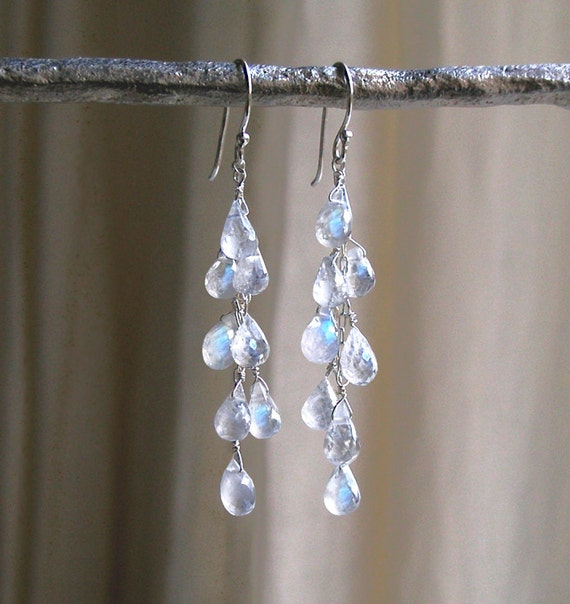 FREE SHIPPING - Dripping With Moonstones Earrings - Moonstone Drop Earrings - Waterfall Earrings - Cascade Earrings  - Dangle Earrings