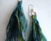 Ostrich Fringe Earrings--Peacock Sea