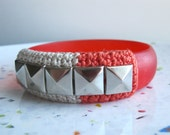 Studded Vintage Lucite Bangle--Coral and Ecru
