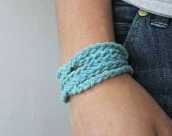 Cotton Rope Cuff--Light Turquoise
