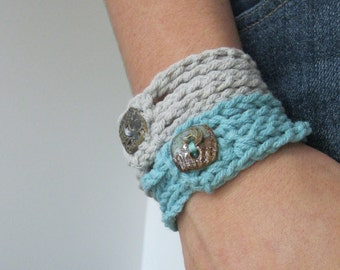 Cotton Rope Cuff--Bleached Gray