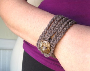 Cotton Rope Cuff--Driftwood Taupe