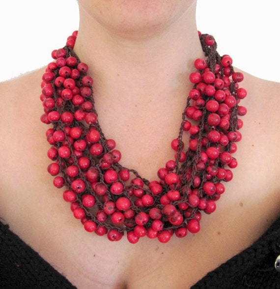 RESERVED deep red acai large adjustable necklace