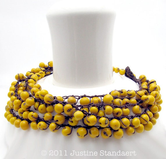 yellow bead necklace crochet  adjustable with brown thread