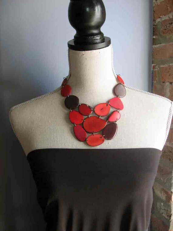 Red and Cranberry Bib Necklace