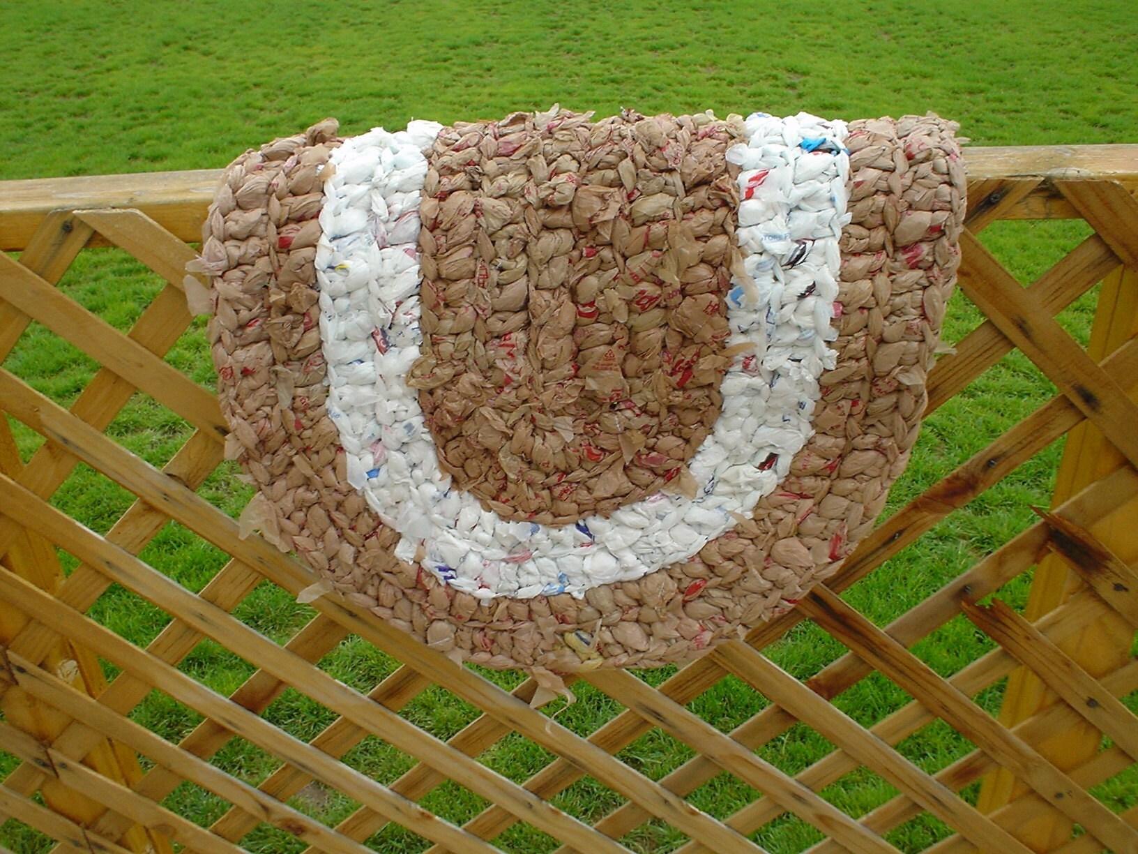 Recycled Plastic Bag Crocheted Rag Rug A