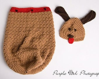 Puppy Cocoon and Hat Set - Photography Prop